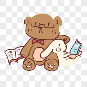 看书的熊与兔子高清图片