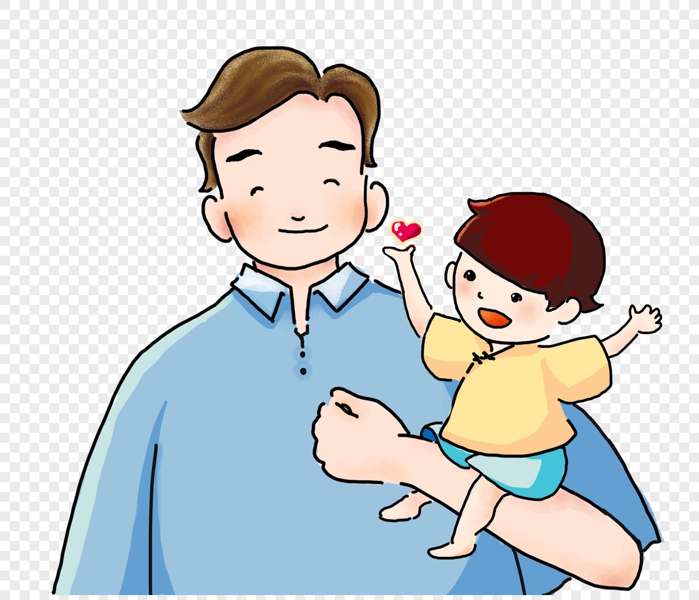 手绘父亲节父子
