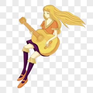手绘弹吉他女孩高清图片