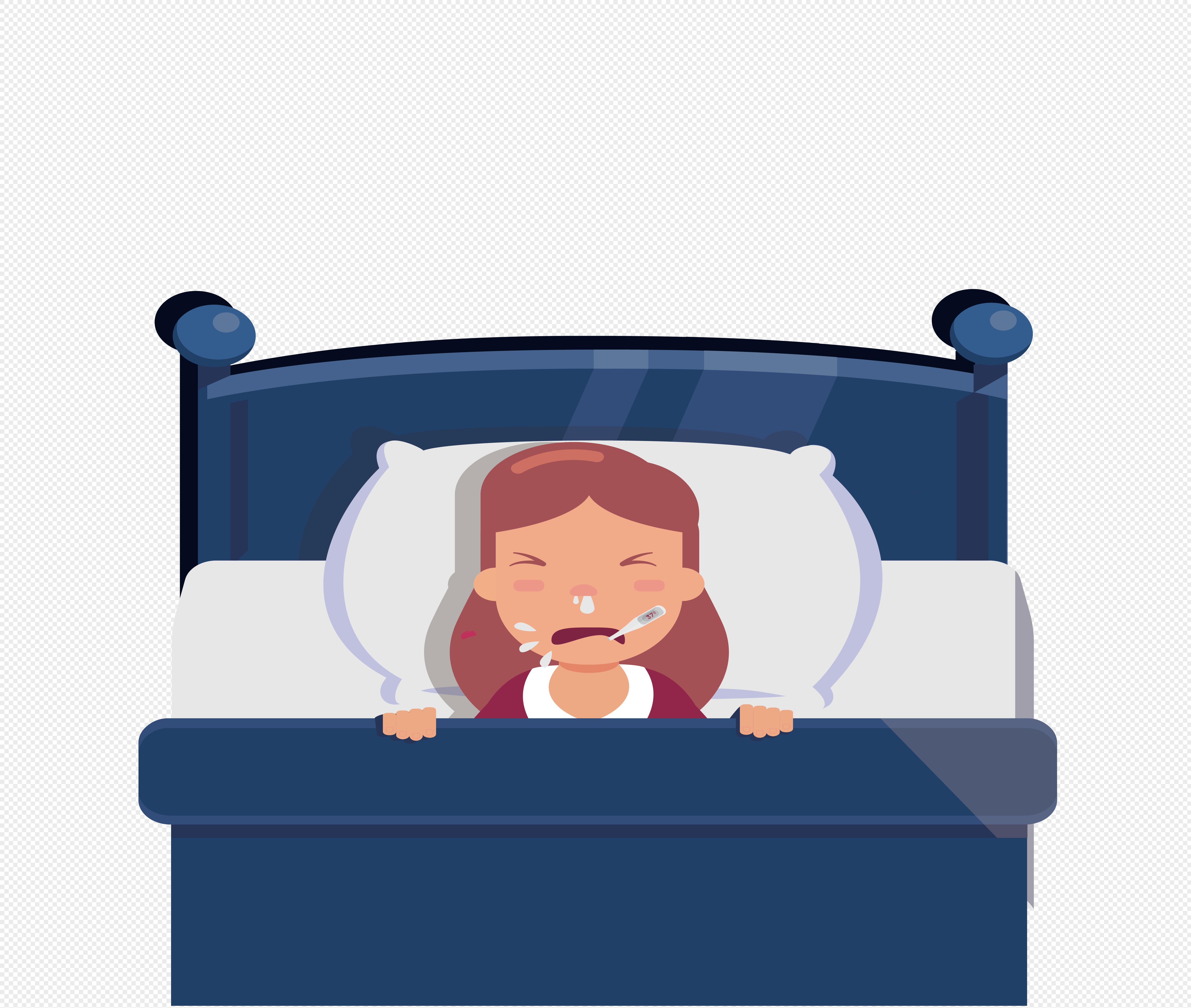 图片 素材 手绘/卡通元素 生病躺在床上的女孩.