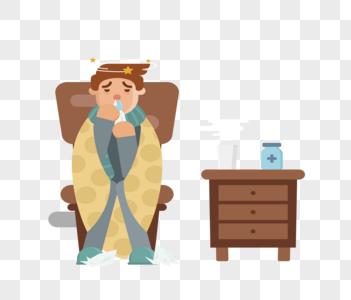 感冒的男孩图片