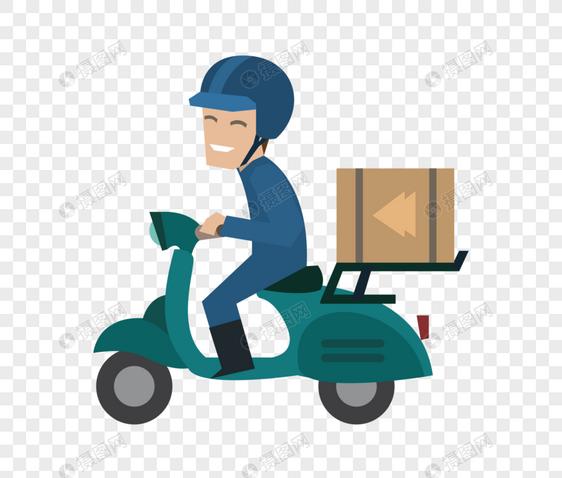 骑摩托车的送货员图片