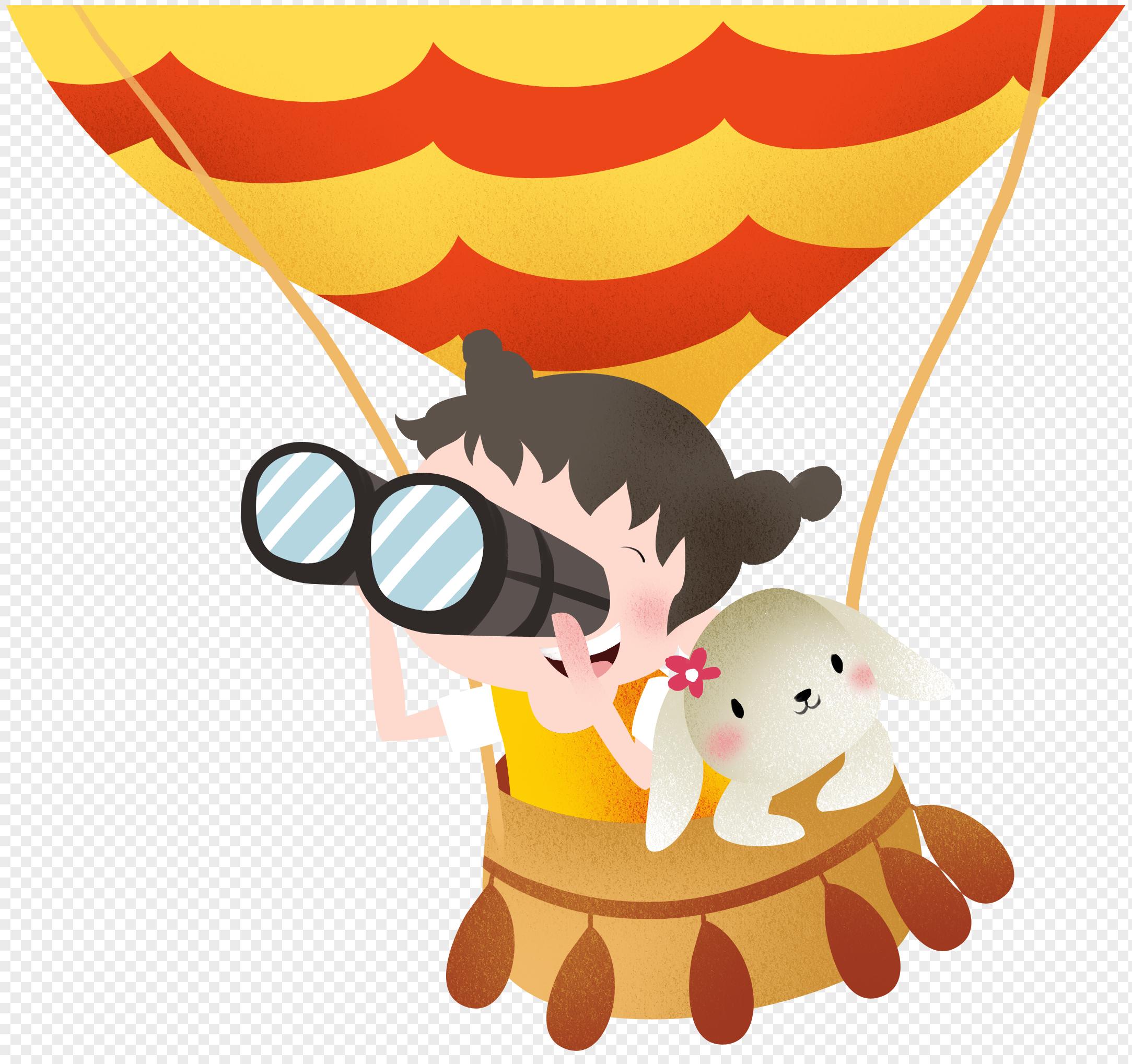 图片 素材 手绘/卡通元素 坐热气球的孩子.