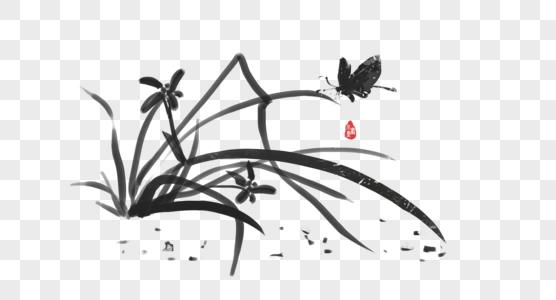 水墨兰花草图片