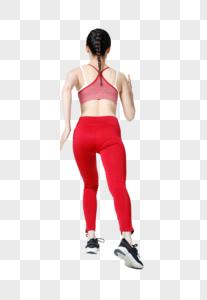 健身女性跑步冲刺背影图片
