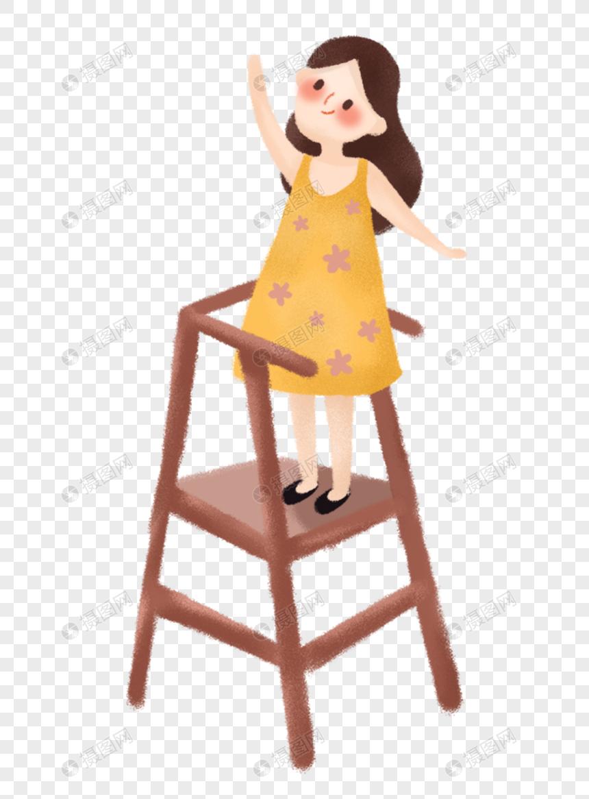 图片 素材 手绘/卡通元素 站在椅子上的女孩.