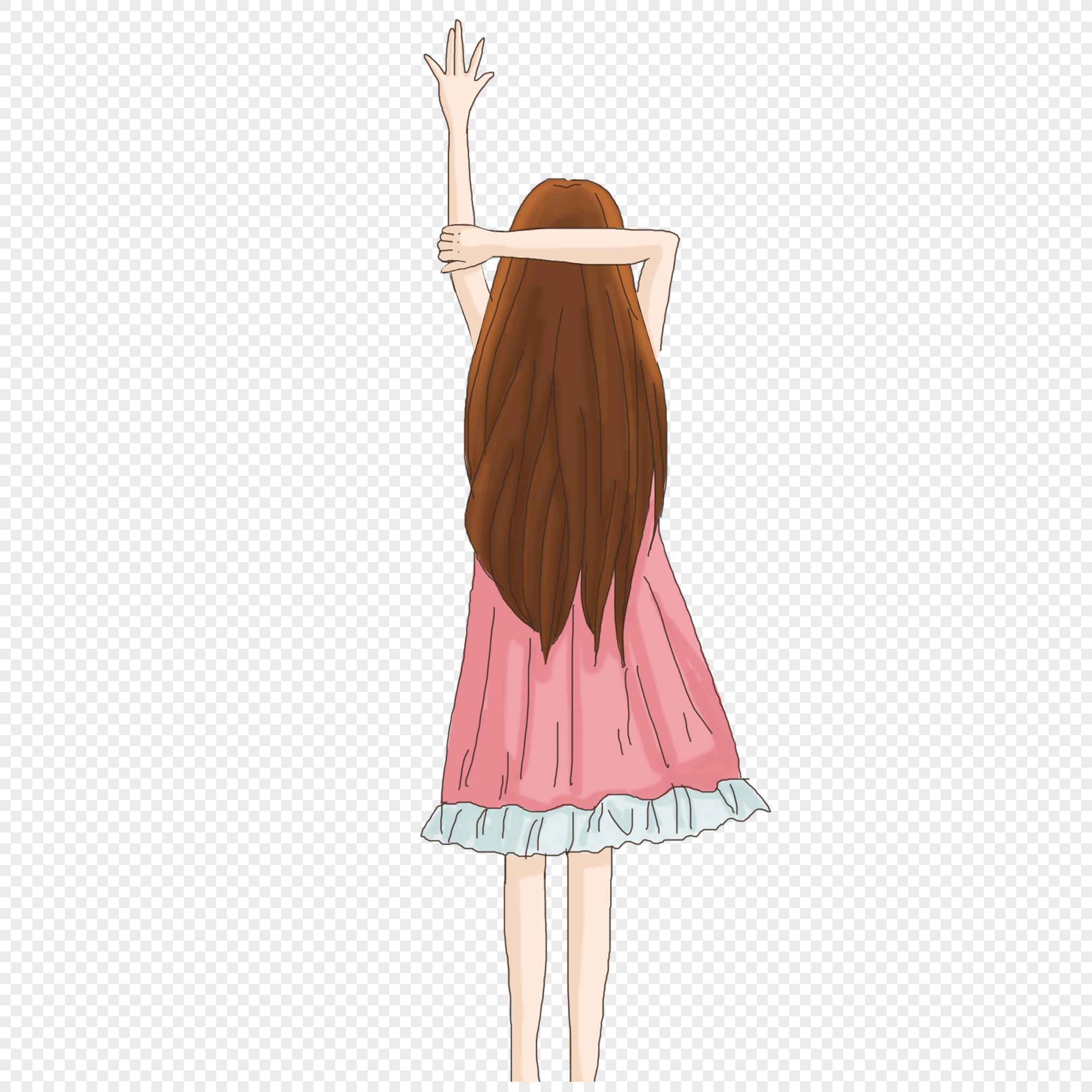 手绘/卡通元素 穿粉色裙子的女孩.