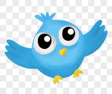 手绘蓝色鸟儿图片