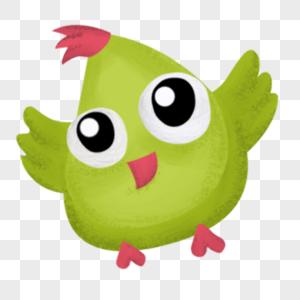 手绘绿色鸟儿图片