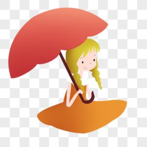 打伞的小女孩图片