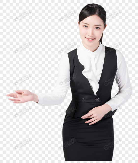 职业女性微笑欢迎手势图片元素素材格式_设计素材免费