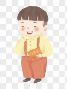 吃零食的小孩图片