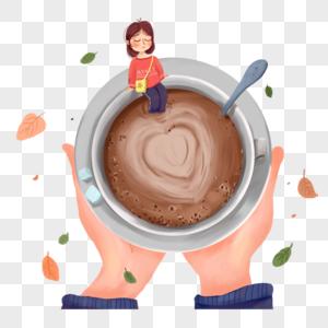 咖啡与女孩图片
