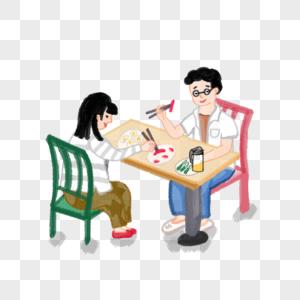 父女吃饭图片