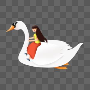 大白鹅和小女孩儿图片