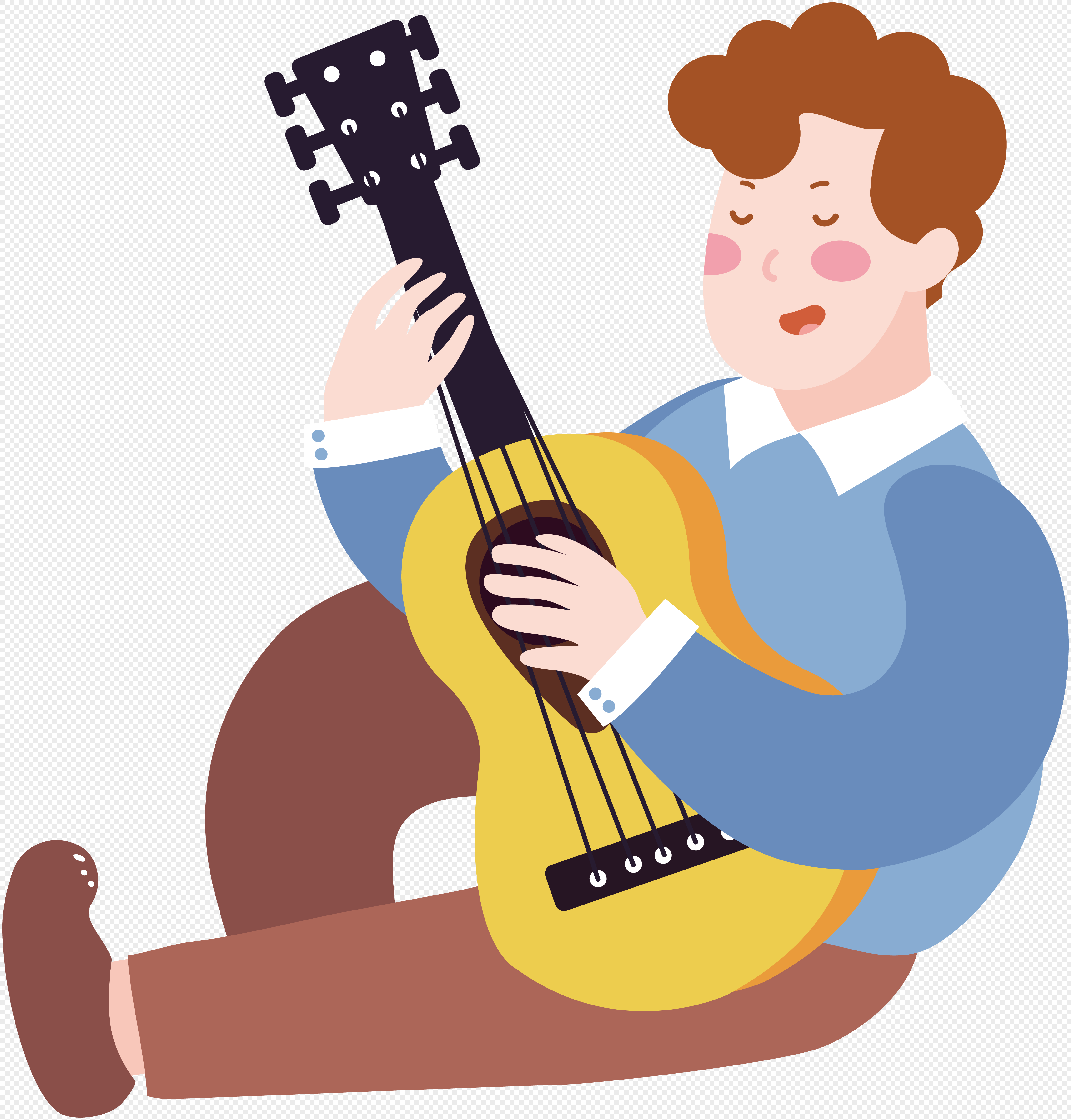 图片 素材 手绘/卡通元素 卡通弹吉他人物.