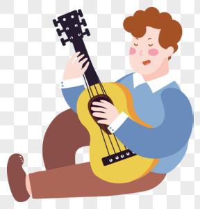 卡通弹吉他人物图片