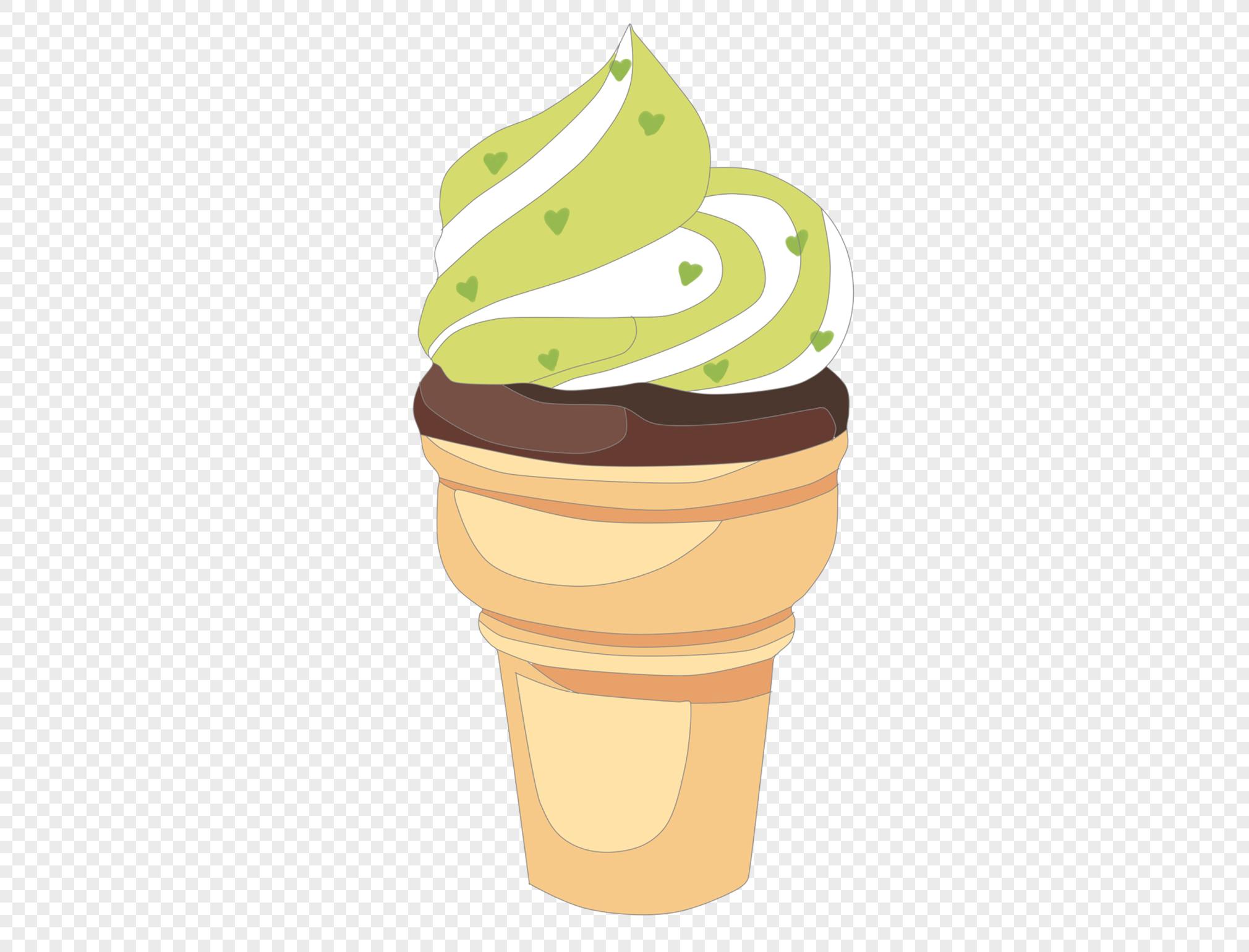 图片 素材 手绘/卡通元素 华夫抹茶甜筒.