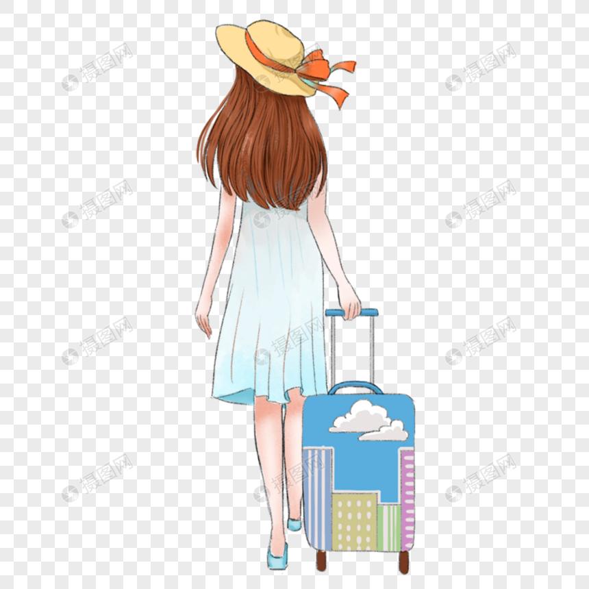 拖行李箱的女孩