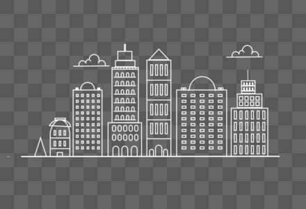 城市建筑白笔线条图片