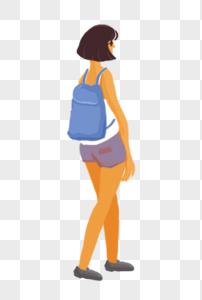 背着书包的女孩图片