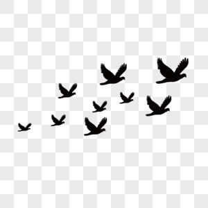 一群大雁剪影图片