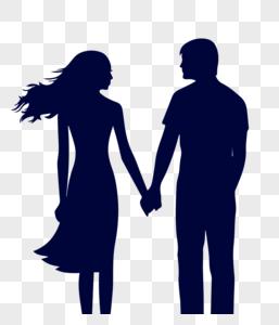 情侣牵手剪影图片