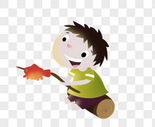 烤鱼的男孩图片