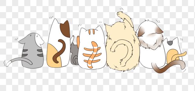 一群猫的背影图片