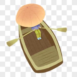 雨中划船的人图片