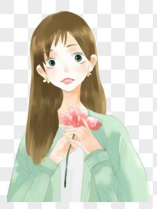 拿花的女孩图片
