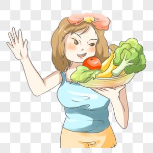 拿着蔬菜的女人图片