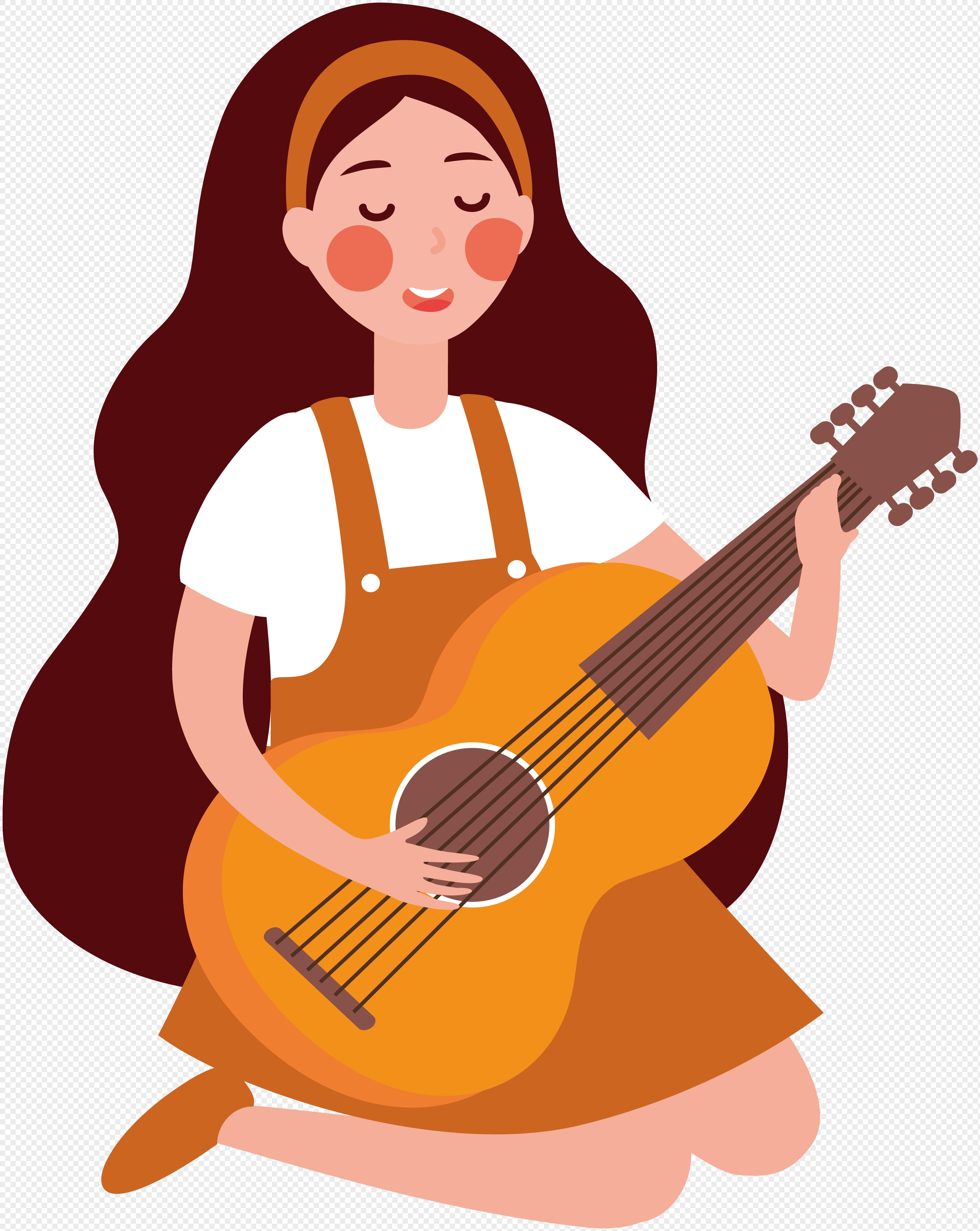 图片 素材 手绘/卡通元素 弹吉他女孩.