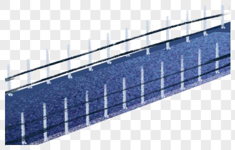 手绘蓝色独木桥图片
