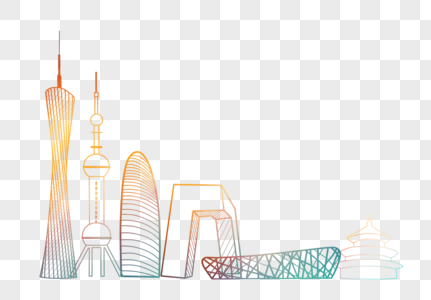 中国标志性建筑剪影线条简约元素图片