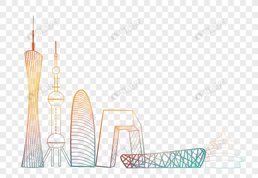 中国标志性建筑剪影线条简约元素