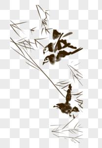 水墨画小麻雀图片