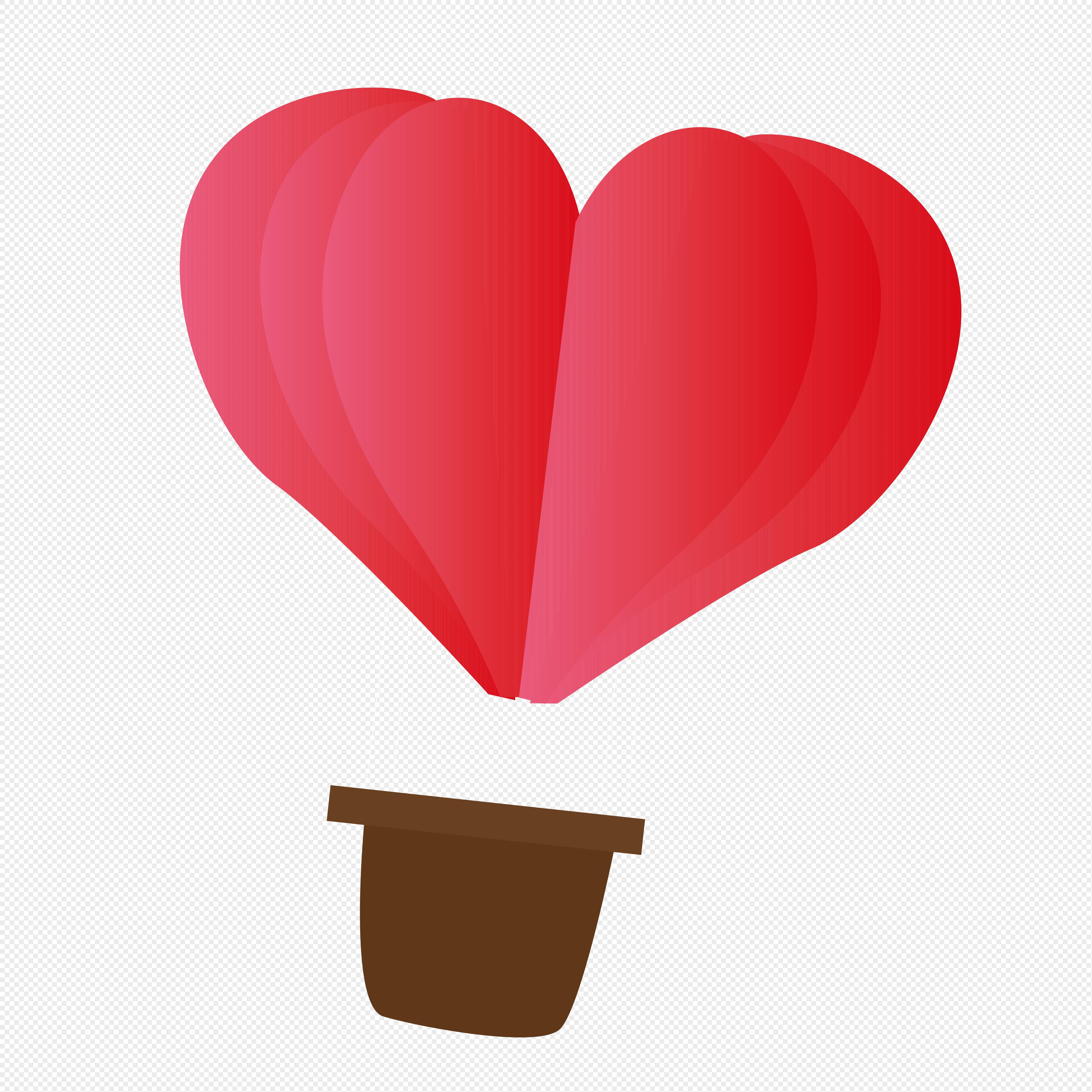 图片 素材 手绘/卡通元素 爱心热气球.