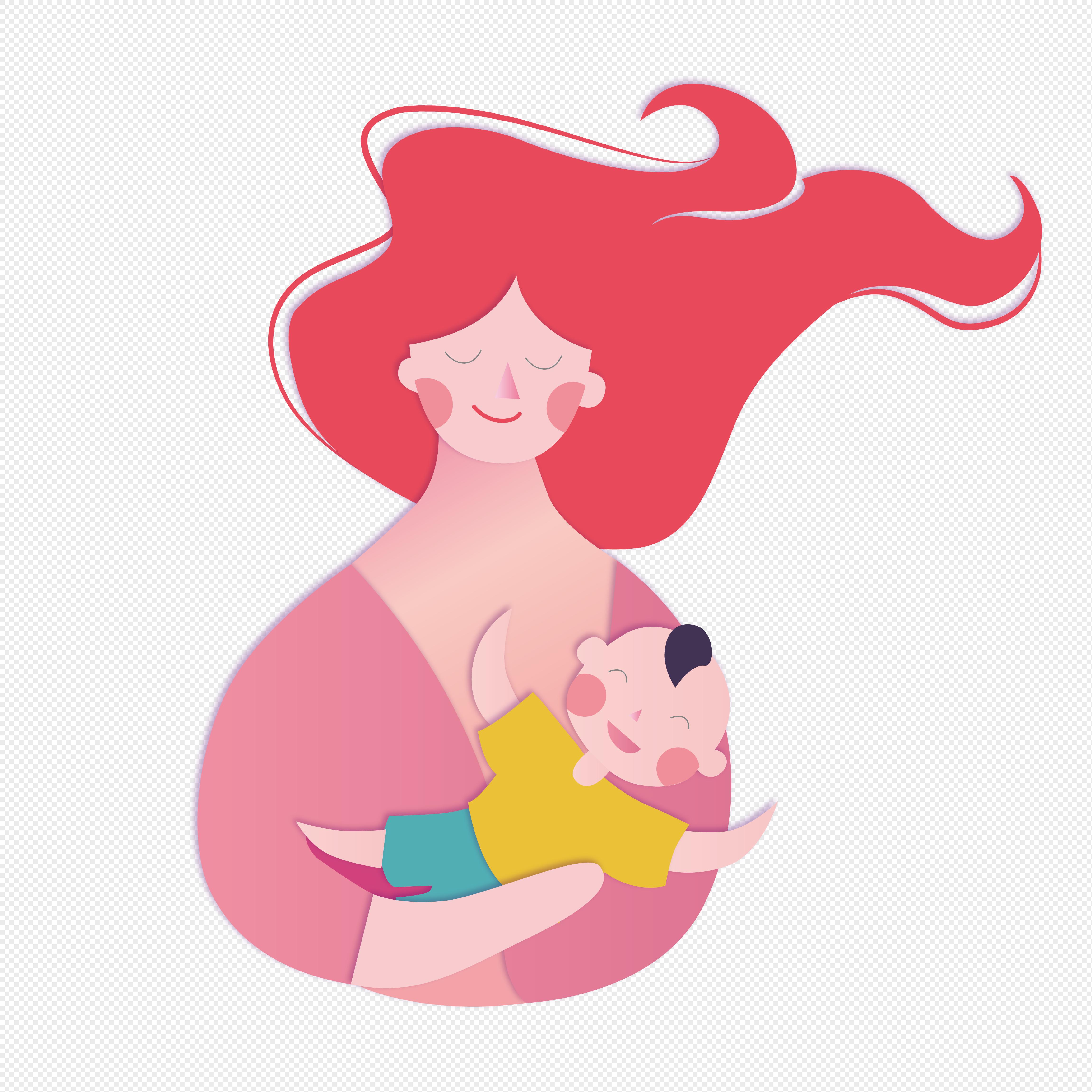 图片 素材 手绘/卡通元素 抱着孩子的母亲.