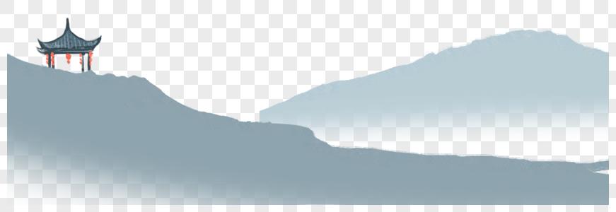 水墨画 群山凉亭图片