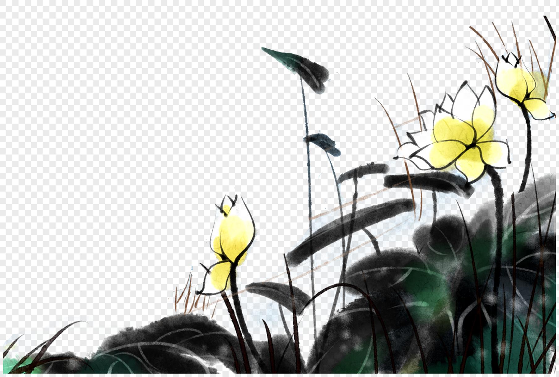 水墨画荷花元素素材格式_设计素材免费下载_vrf高清