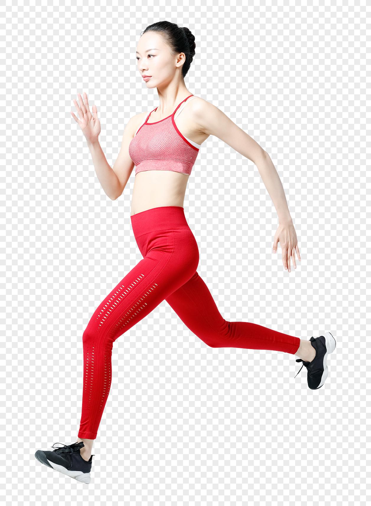 健身青春健身女性跑步冲刺背影图片
