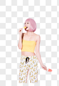 粉色假发性感活力美女图片图片