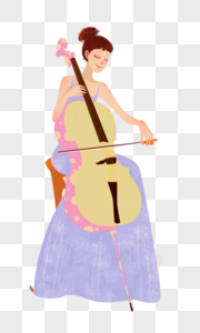 拉大提琴的女生图片