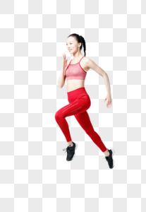 健身运动女性跳跃动作图片图片