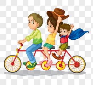 骑自行车出游的一家人图片