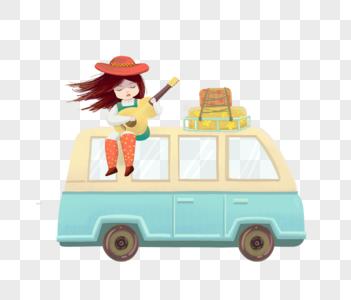 坐在面包车上的女孩图片