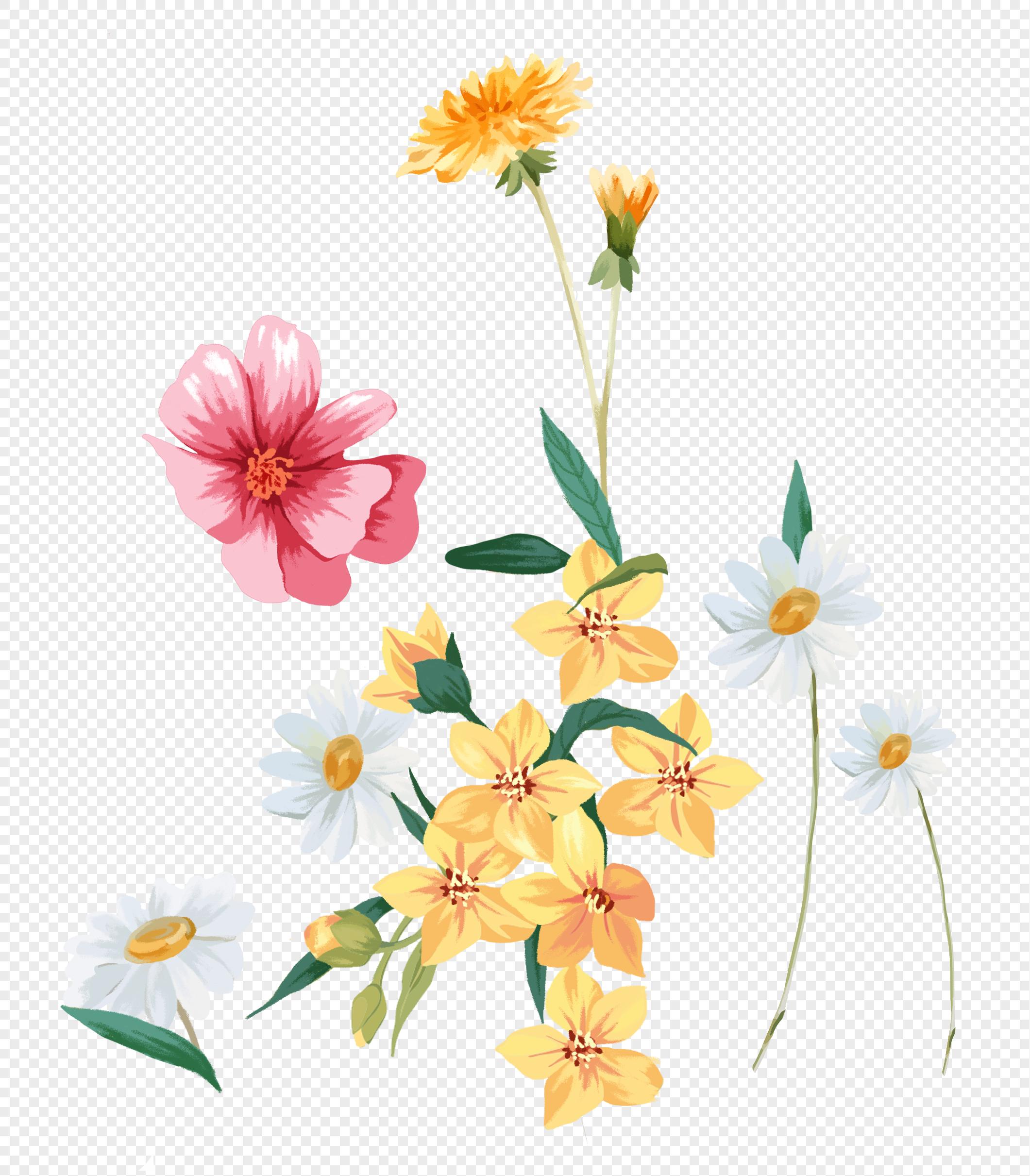 手绘小雏菊绿植背景素材