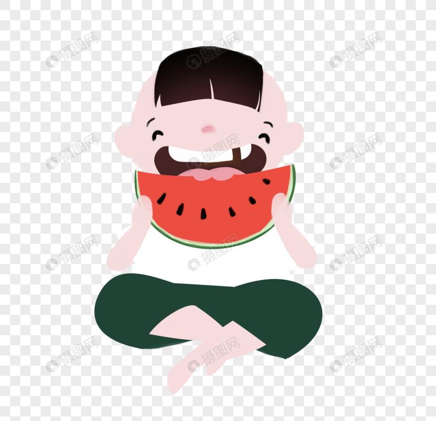 吃西瓜的小男孩
