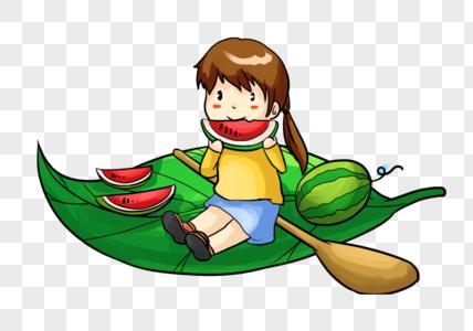 叶子上吃西瓜的女孩图片